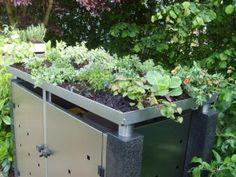 Mülltonnenbox / Mülltonnenverkleidung Flora mit Granitpfosten und Bepflanzung  #muelltonnenbox