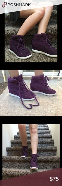 Purple High Tops These purple High Tops are perfect for date night. Super comfy with a bit of a heal. Only worn once did not fit right. Would be perfect for a size 10 but sadly I sized up. Totally accepting offers feel free to comment.                   -Jewels Vera Wang Shoes Ankle Boots & Booties