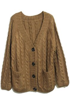 Shop Vertical Plait Crochet Coffee Cardigan at ROMWE, discover more fashion styles online. Pretty Outfits, Cool Outfits, Fashion Outfits, Crochet Long Sleeve Tops, Crochet Tops, Knit Tops, Oversized Knit Cardigan, Brown Cardigan, Crochet Cardigan