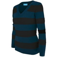 Cielo Women's Soft Contoured Horizontal Striped Pullover/cardigan... ($16) ❤ liked on Polyvore featuring tops, cardigans, blue pullover, pullover cardigan, cardigan pullover, cardigan top and blue cardigan