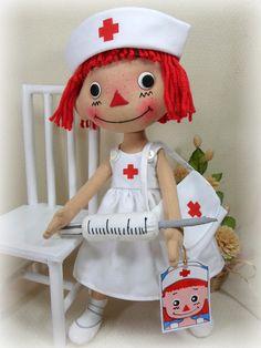 "CLOTH RAG DOLLS RAGGEDY ANN ANDY ~ 14"" NURSE ANNIE RED HAIR DOLL"