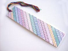 OOAK rainbow zentangle bookmark original art bookmark by PeachPod