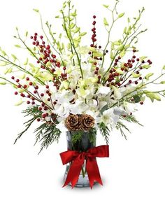 Orchids and Berries by Mary Murray's Flowers #Tulsa #TulsaFlorist #Christmas