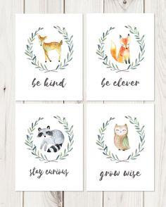 Woodland Nursery Prints // Be Brave Be Kind // by LetteredWhimsy