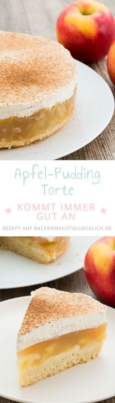 Apfel-Sahne-Torte mit Pudding This apple cream cake convinces everyone! Crumbly soil, fruity apple f Paleo Dessert, Yummy Treats, Yummy Food, Cooking Cake, Apple Filling, Easy Cake Decorating, Apple Pie Recipes, Pudding Cake, Convenience Food