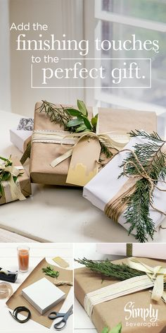 Adding a sprig of evergreen to your gift wrapping is the perfect way to include a touch of winter. For more ways to unwrap the perfect moment, check out our Simply Moments Board.