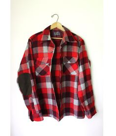 I love elbow patches...  10thAvenueEast › Closet  Vtg Pendleton Mens Plaid wool FLANNEL Shirt suede elbow M
