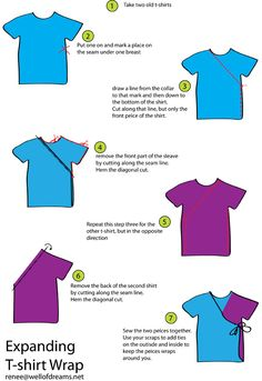 The best DIY projects & DIY ideas and tutorials: sewing, paper craft, DIY. DIY Women's Clothing : refashion T-shirt -Read Sewing Hacks, Sewing Tutorials, Sewing Crafts, Sewing Projects, Sewing Patterns, Recycled T Shirts, Old T Shirts, Diy Clothing, Sewing Clothes