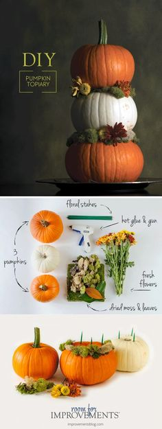 Hosting a last-minute Thanksgiving dinner this year? Try making this easy DIY Thanksgiving centerpiece that gives your dinner table or buffet table a unique seasonal touch. Diy Thanksgiving Centerpieces, Easy Thanksgiving Dinner, Hosting Thanksgiving, Thanksgiving Table Settings, Thanksgiving Tablescapes, Blog Art, Pumpkin Topiary, Buffet, Creative