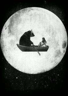 """Bear Boat in the moon""...rising moon making the sky behind it luminous."