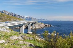 Looking north over the Djupfjorden Bridge between Reine and Å, and along the famous jagged 'wall' of the Lofotens.