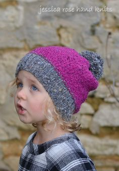 Easy PDF KNITTING PATTERN Raspberry Tweed Slouchy PomPom Baby Child and Adult sizes