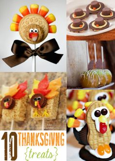 10 Must-See Thanksgiving Treats {Lil' Luna} I like the idea of rice crispy treats on a stick.  For some reason kids like any foods on a stick.