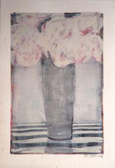 'Peonies  Stripes' by Karen Darling