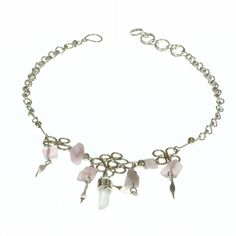 A delicate anklet made of alpaca silver with beige marbled agate beads and drop Only £7.99