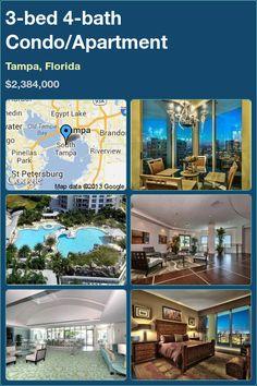 3-bed 4-bath Condo/Apartment in Tampa, Florida ►$2,384,000 #PropertyForSale #RealEstate #Florida http://florida-magic.com/properties/9801-condo-apartment-for-sale-in-tampa-florida-with-3-bedroom-4-bathroom