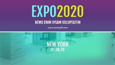 A creative video template for expo event. A colourful background with written text displaying expo