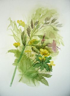 Spring flowers painting Green Bouquet wild by VerbruggeWatercolor, $45.00