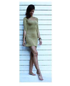 Oliwkowa sukienka handmade