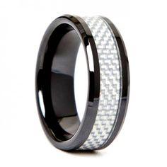 Mens 8mm Black Ceramic White Carbon Fiber Beveled Edges - Talon