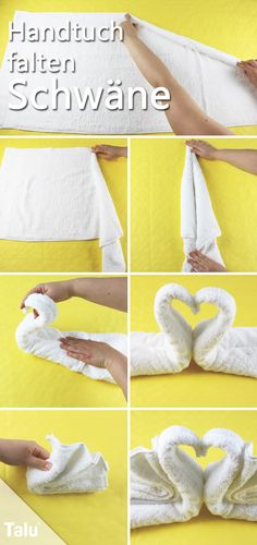 Handtücher Simply awesome: towels fold like in the hotel Wedding Napkin Folding, Wedding Napkins, Towel Origami, Origami Easy, Washing Clothes, Diy Clothes, Towel Swan, Hotel Towels, Towel Animals