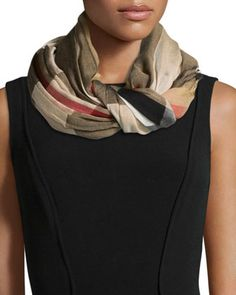 Sheer Mega Check Scarf, Camel by Burberry at Neiman Marcus.