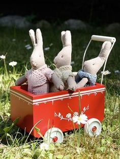 Maileg Pram/at JoEllens Designs/Main St. Maileg Bunny, Little Ruby, Inside Games, Dolls Prams, Red Cottage, Spring Colors, Softies, Vintage Toys, Little Ones