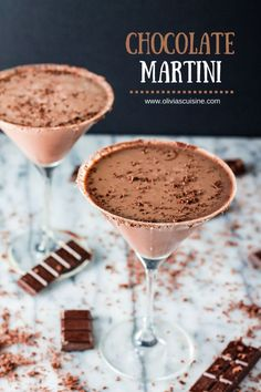 Chocolate Martini   www.oliviascuisine.com   Delicious, creamy and decadent Chocolate Martinis. The perfect cocktail for your Easter brunch!