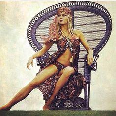 Moon to Moon: Celebrity Peacock Chairs. Bridget Bardot in a blue peacock chair. Boho fashion and decor. Brigitte Bardot, Bridget Bardot, Mode Hippie, Hippie Man, 70s Hippie, Catherine Deneuve, Jane Fonda, Playboy, Wicker Peacock Chair