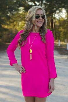 Lavish Boutique  - Out And About Dress: Hot Pink, $38.95 (http://lavishboutique.com/out-and-about-dress-hot-pink/)