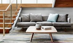 """Lovely sofa from Jardan Furniture """"Our Nook sofa, Quincy table and Stitch cushion nestle in a quiet corner in-store photographed by Jardan Furniture, Home Furniture, Furniture Design, Sofa Bed Australia, Corner Sofa Australia, Sofas, Couches, Armchairs, Living Spaces"""