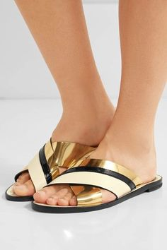 Lanvin - Matte And Patent-leather Slides - Gold