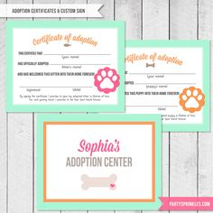 Kitten & Puppy Party - Adoption Certificate and Adoption center Welcome Sign - Printable Design by PartySprinklesStore on Etsy https://www.etsy.com/listing/198694497/kitten-puppy-party-adoption-certificate