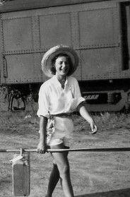 CP's Grandmother, Joy McCaskill at Canoe Lake train station.