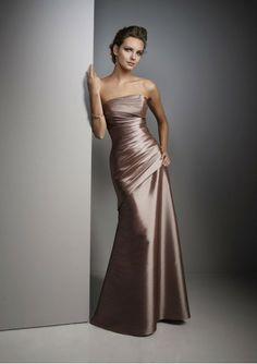 Taffeta Strapless Rouched Bodice Bridesmaid Dress