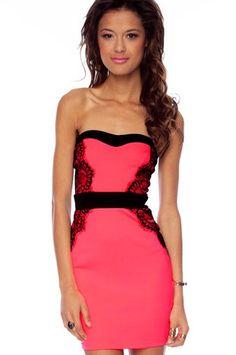 Vena Laced Strapless Dress...prefer it in mocha
