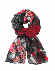 57W54H7_3000 Desigual Scarf Rectangle New Red, Black