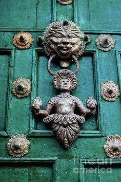 Peruvian Door Decor,1, knocker, door, handle, hardware, ornament, inca, cusco, peru, antique, pre-columbian, decor, brass, rusty, paint, lock, Photograph, ©Xueling Zou, fine art, original art, for sale, $6.00,