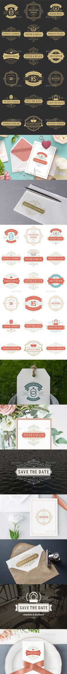 18 Wedding Logos and Badges — Photoshop PSD #floral #modern • Download ➝ https://graphicriver.net/item/18-wedding-logos-and-badges/21669404?ref=pxcr