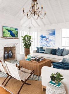 My favorite elements in a beach house are crisp white walls, exposed natural wood and comfortable casual furniture. Always throw in a few...