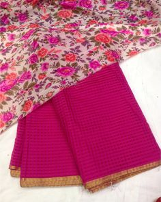 Kota weaving saree with golden border with floral blouse To purchase mail us at…