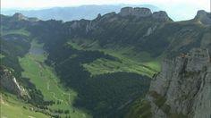 Ebenalp, Alpstein, Appenzeller Alps, High Mountain Regions, Lake, Switzerland, Rock (Crag), Forest, Rock (Geology), Non Urban Scene, Tree (Plant), Travel Destination, Mountains, No People, Body of Water, Sunshine, Europe (Continent), Day, Stock Footage,