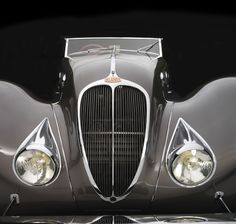 Sensuous Steel : Art Deco Automobiles: The magnificent 1937 Delahaye Roadster, described as a 'Paris Gown on wheels' was designed by Figoni & Falaschi, a 'Couturier of the automobile' and featured a stunning leather interior by Hermés. Deco Cars, Art Deco Car, Jaguar, Vintage Cars, Antique Cars, Roadster, Rolls Royce, Exotic Cars, Concept Cars