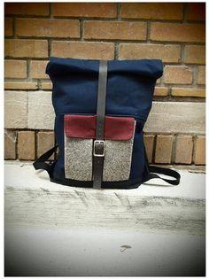 Blau Canvas dreifarbige Rolltop Laptop Rucksack von Hedj auf Etsy, $200.00