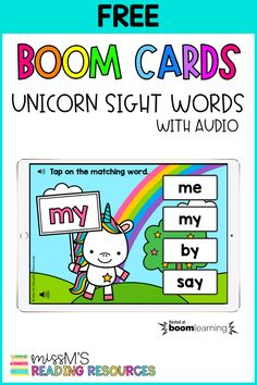 Enhance your sight word instruction with this fun match game! Add this game to your literacy centers for independent practice or use for distance learning. Students will love reading and matching their sight words with adorable unicorns! #Free #BoomCards #SightWords #Unicorn #DistanceLearning Sight Word Games, Sight Words, Miss And Ms, Reading Resources, Matching Games, Literacy Centers, Deck Of Cards, Love Reading, Unicorns