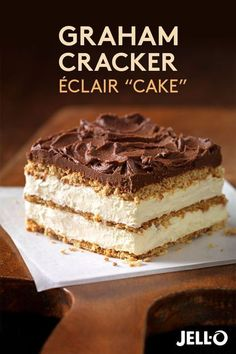 This Graham Cracker Éclair recipe makes dessert a piece of cake! Just start with JELL-O Vanilla Flavor Instant Pudding, add milk and whisk. Then add COOL WHIP Whipped Topping and mix again. Pour over a delicious bed of crunchy graham cracker squares, layer up and top it all off with creamy BAKER'S ONE BOWL Chocolate Frosting. It's cake made easy.