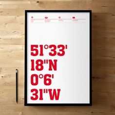 Arsenal FC, Emirates Stadium Coordinates, Football / Soccer Posters and Prints