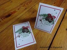 Weihnachtskarte # 3 | Stempelset Willkommen, Weihnacht meets Thinlits Formen Tannen und Zapfen/ Pretty Pines Thinlits ~ Kreiere mit Liebe - Stempeln, Stanzen, Prägen und Co.