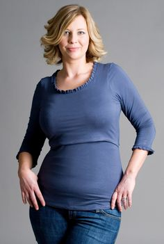 Effortlessly beautiful breastfeeding top with scoop neck & lush pleated trim. Lift up nursing access. Recommended for tandem breastfeeding. Fits from pregnancy. Maternity Wear, Maternity Tops, Breastfeeding Clothes, Nursing Tops, Things That Bounce, Scoop Neck, Tandem, Tunic Tops, Slate
