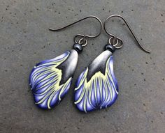 On the Wing, Bluish Purple, Yellow, Gray, Black and White - Millefiori Polymer Clay, Hypoallergenic, French Hook Earrings by PatchWorkClay on Etsy